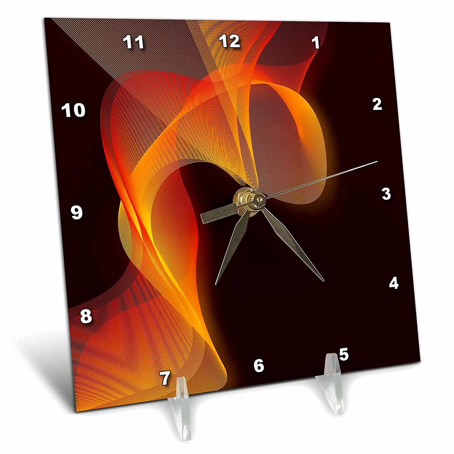 3dRose dc_65481_1 Abstract Band of Yellow Gold Against a Dark Background-Desk Clock, 6 by 6-Inch