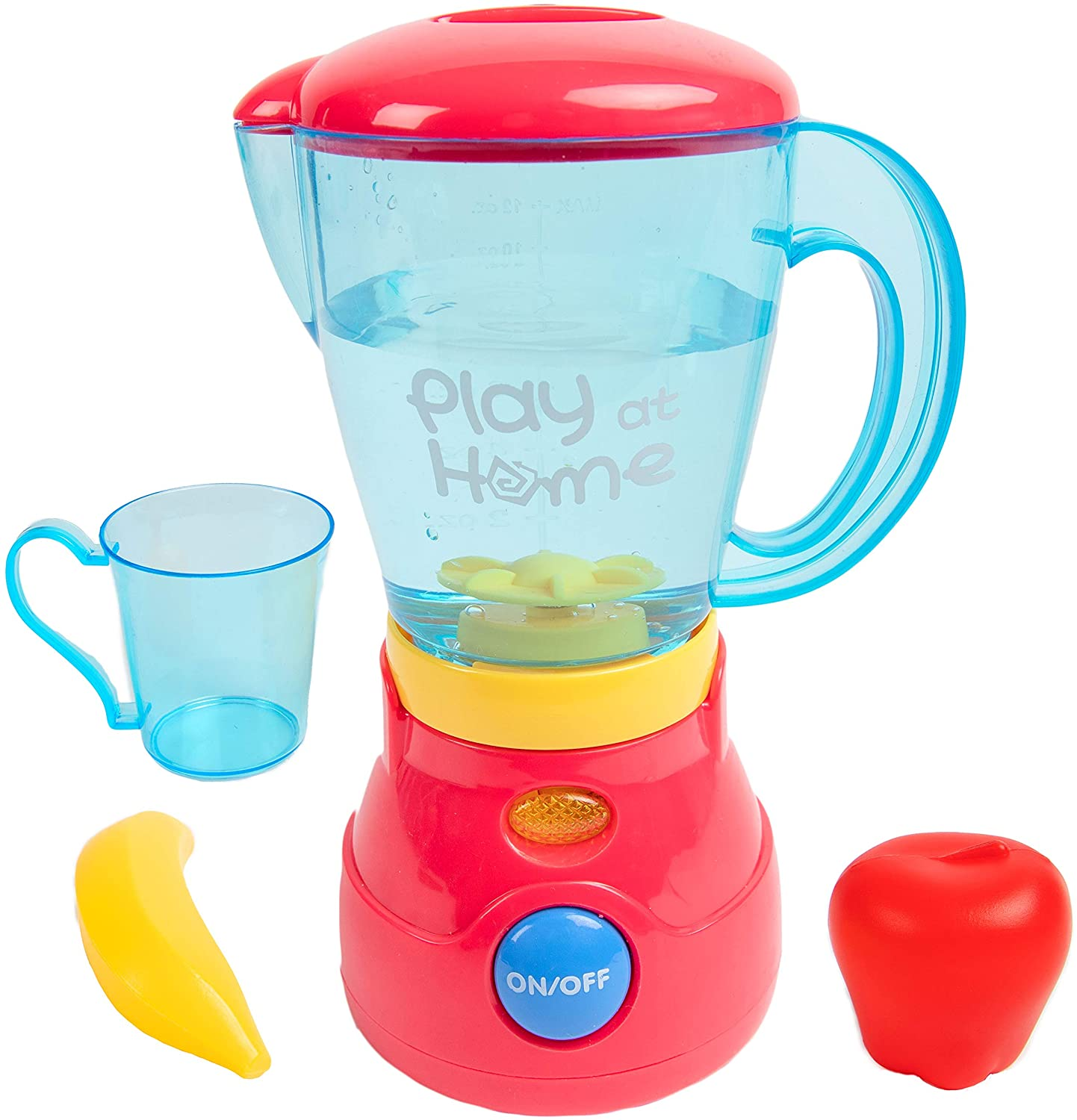 Toy Chef Play Kitchen Appliances – Premium Pretend Blender for Kids– Red and Blue Themed Toddler Kitchen Accessories – Cool Present for Girls and Boys