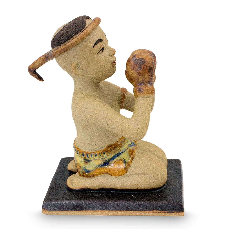 NOVICA 213690 Muay Thai Greeting I Ceramic Figurine