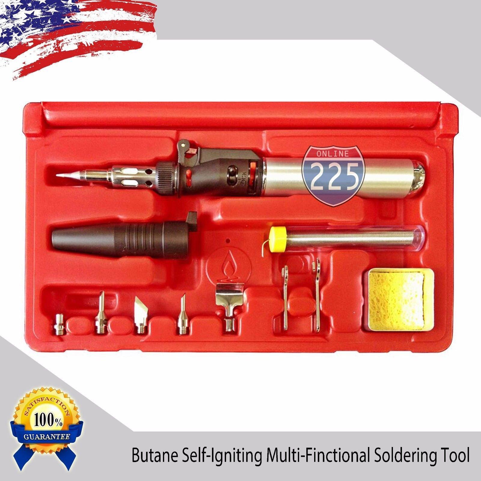 10 in 1 Multi-Functional Butane Gas Soldering Iron/Heat Gun/Blow Torch Kit USA
