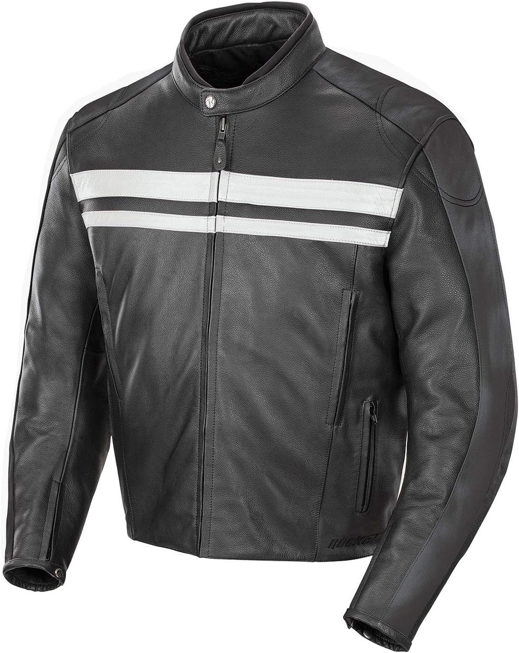 Black//Grey, Large Joe Rocket Mens Old School Leather Jacket