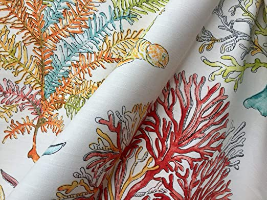 CORAL REEF Fabric Curtain Upholstery Cotton Material sea red corals 140cm wide