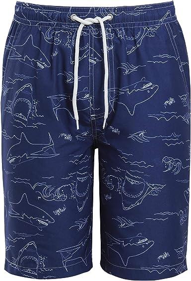 Boys Shark Print Swim Shorts