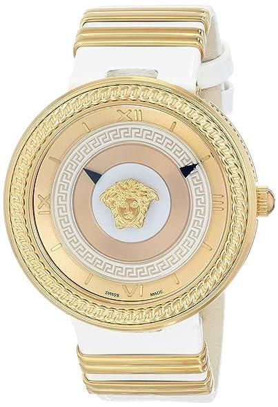 Versace Womens VLC040014 V-METAL ICON Analog Display Swiss Quartz White Watch