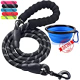ladoogo Heavy Duty Dog Leash - Comfortable Padded Handle, 5 ft Long - Dog Training Walking Leashes for Medium Large Dogs with A Free Collapsible Pet Bowl