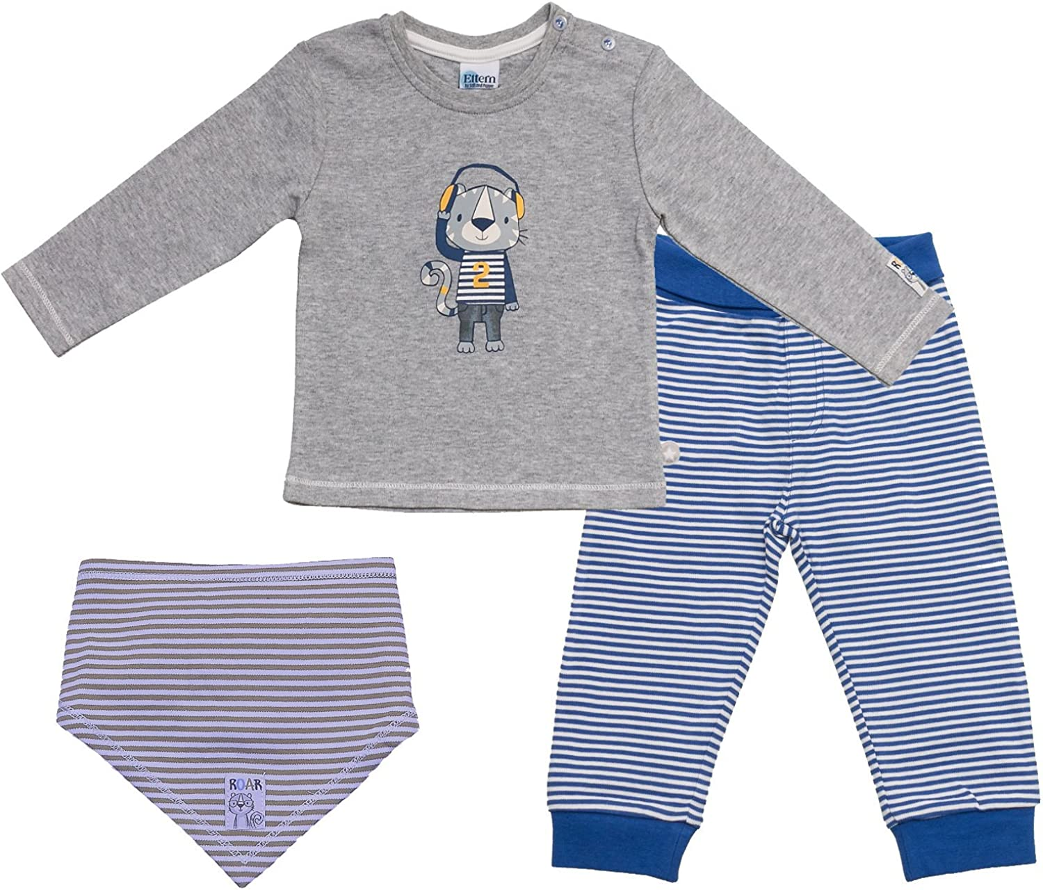 SALT AND PEPPER Baby Jungen Eltern Serie Nicky Set Langarmshirt und Hose Bright Blue//Grey