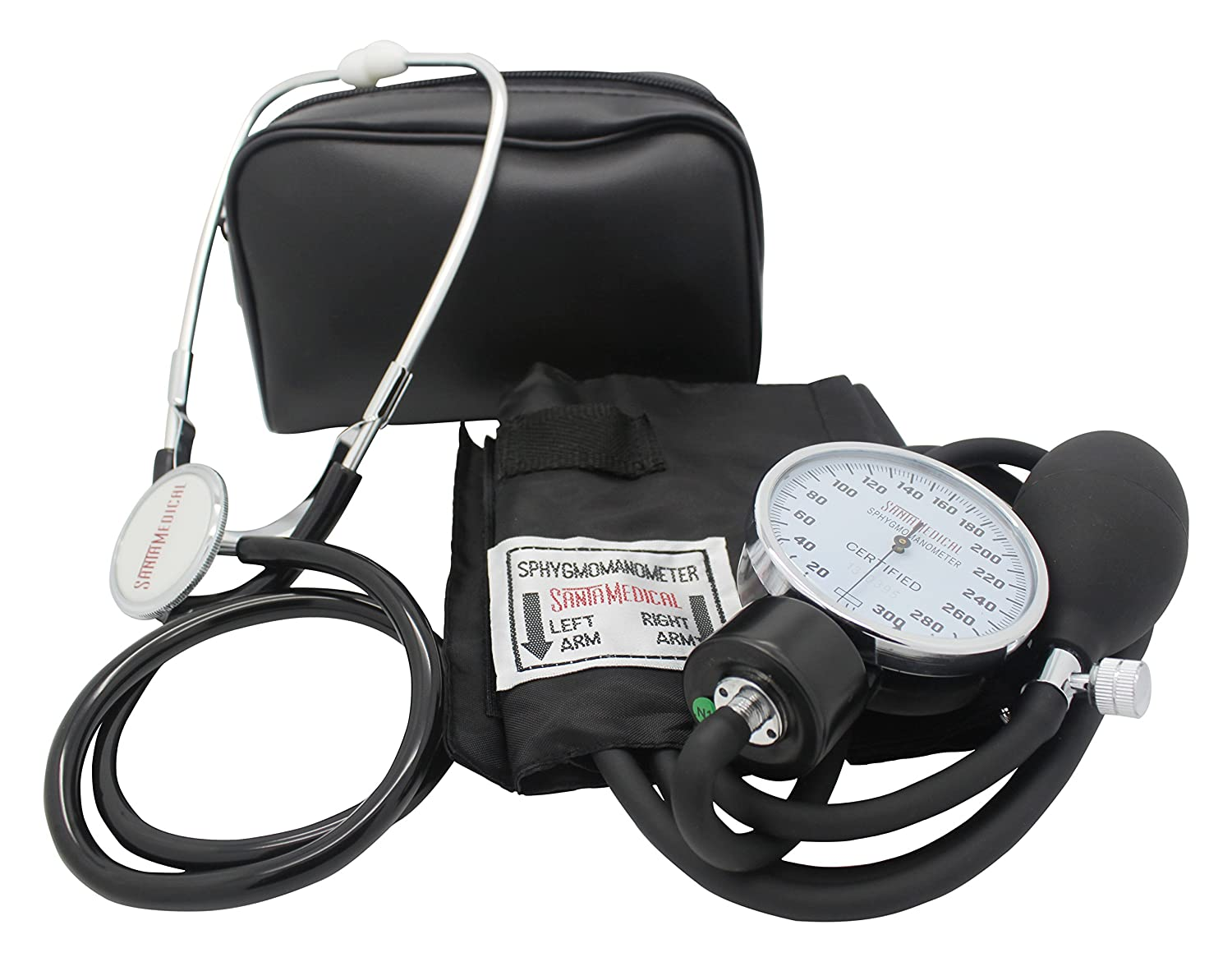 sphygmomanometer. amazon.com: santamedical adult deluxe aneroid sphygmomanometer with stethoscope, cuff and carrying case: health \u0026 personal care y