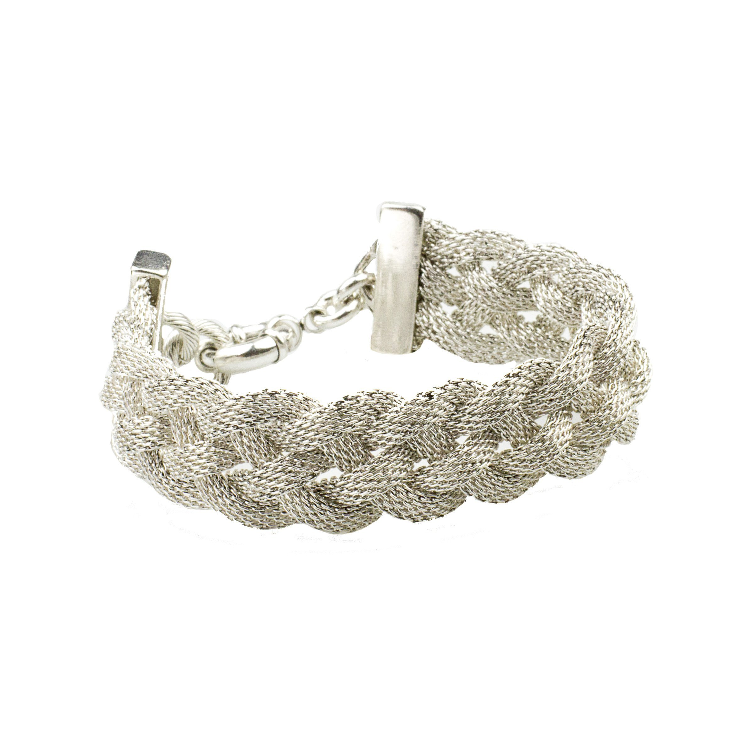 John Wind Silver Braided Mesh Cuff Bracelet, 7-7.5''