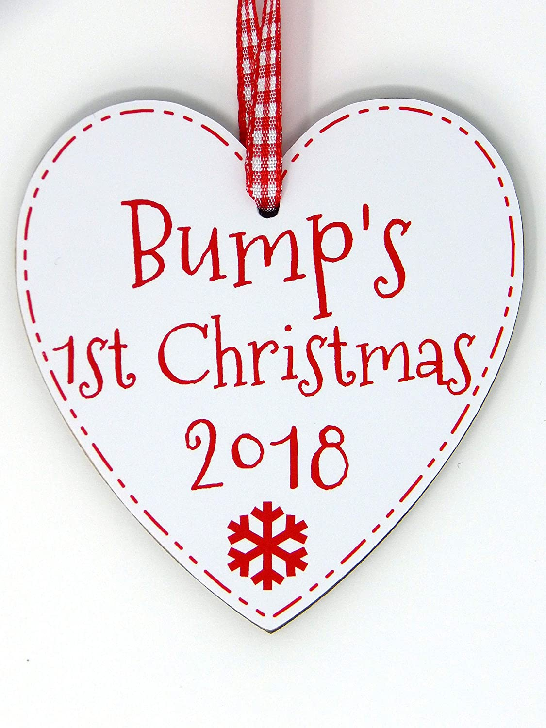 Bump's First Christmas Heart Decoration New Mum To Be 1st Xmas Bump Tree Decoration Handmade in the UK (2018 Bauble) judilicious