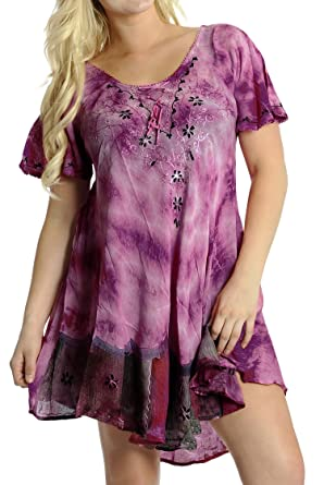 La Leela 3 in 1 Soft Rayon Tunic Ladies Hand Tie Dye Embroidered Beach Loose Maxi