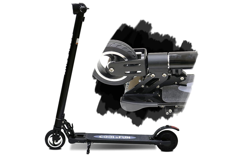 Cool&Fun 電動 キックボード キックスクーター 電動 スケーター カーボン製 LEDライト搭載 最高時速20キロ 折りたたみ 立ち乗り式 大人用 ブラック