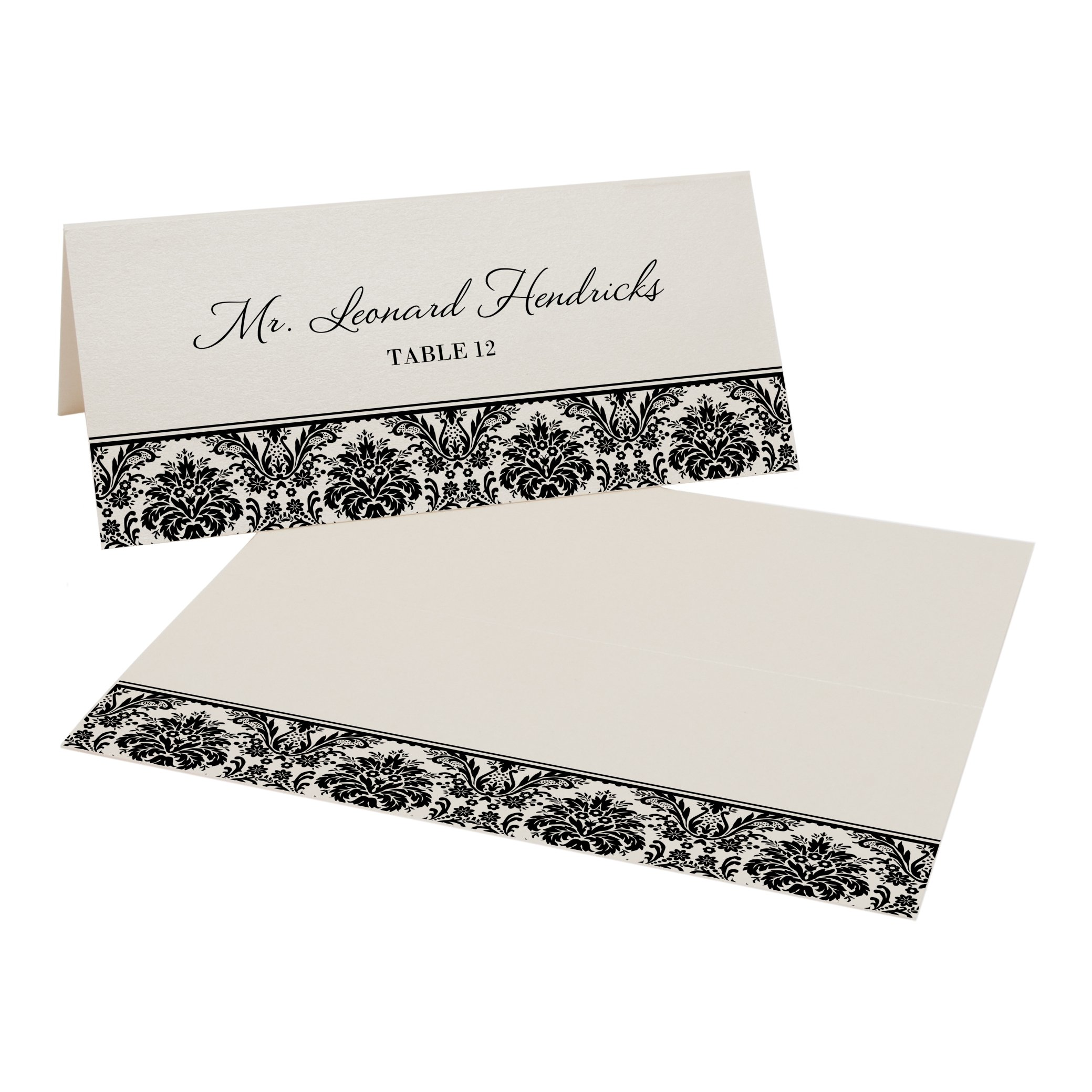 Damask Pattern Place Cards, Champagne, Black, Set of 375 by Documents and Designs