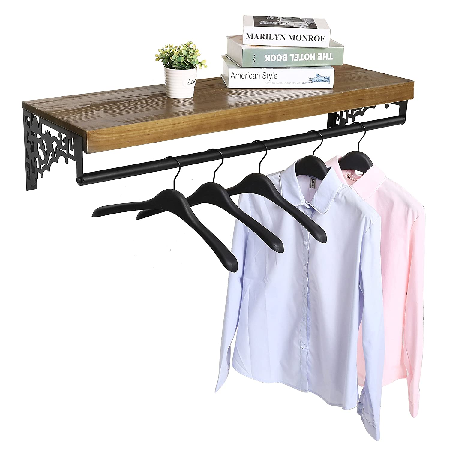Wall Mounted Wood & Metal Floating Shelf w/Garment Hanger Rod, Decorative Retail Clothing Rack, Brown