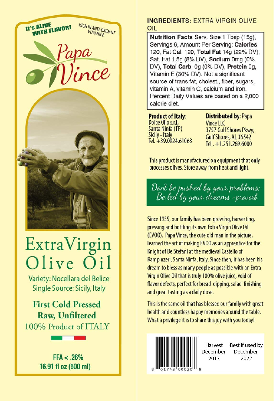 Papa Vince Olive Oil Gift - Extra Virgin First Cold Pressed from our family in Sicily, Italy, Unblended, Unfiltered, Unrefined, Robust, Rich in Antioxidant   Burlap bag   16.9 fl oz by Papa Vince (Image #3)