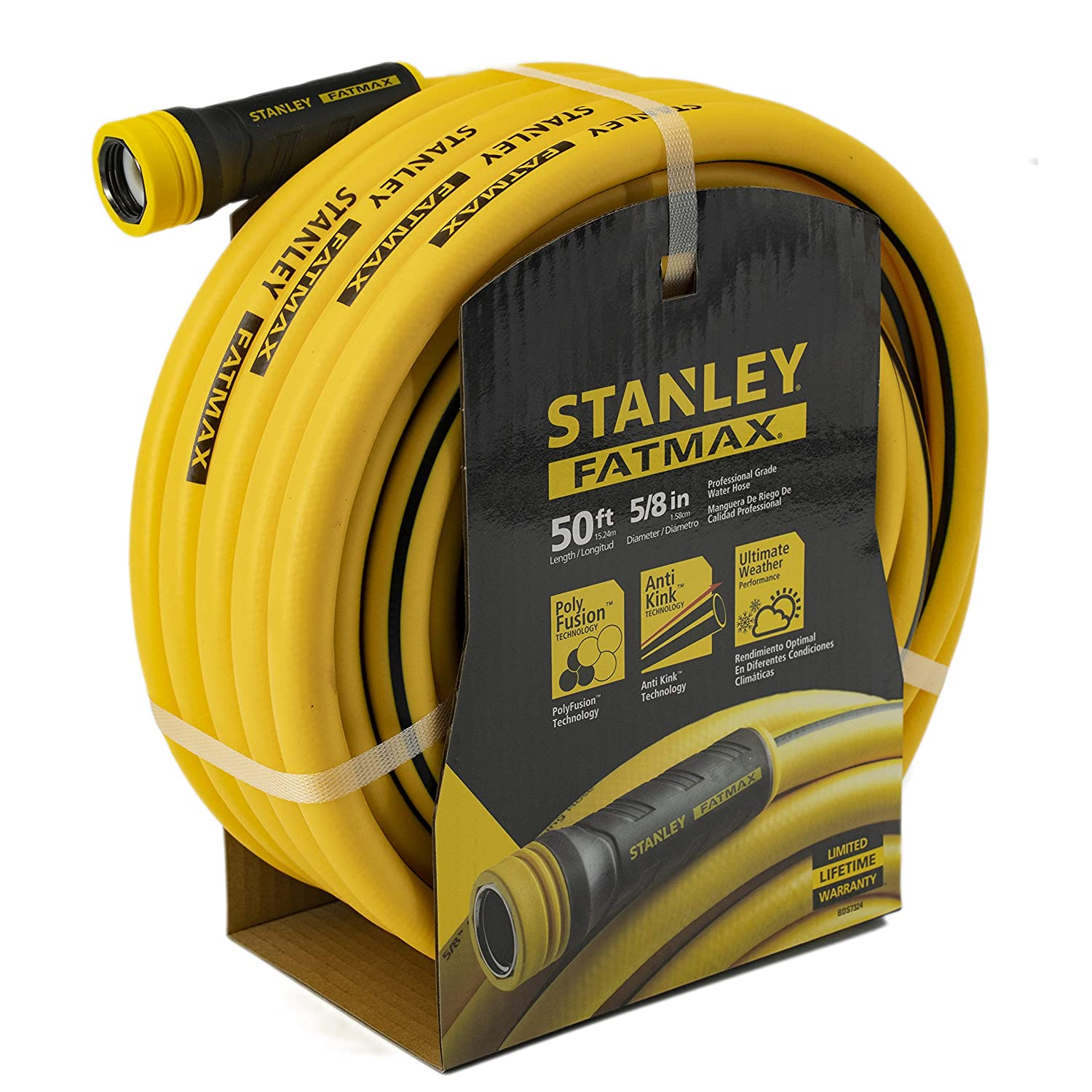 "Stanley Fatmax Professional Grade Water Hose, 50' x 5/8"", Yellow 500 PSI"
