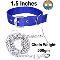 S.Blaze Dog Belt Combo of 1.5 inch Blue Nylon Dog Collar Neck Size 48cm to 64cm with Heavy Dog Chain Specially for Big Dogs 1.65M Lengthy Dog Collar and Chain