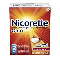 Nicorette 2mg Nicotine Gum to Quit Smoking - Cinnamon Surge Flavored Stop Smoking Aid, 160 Count