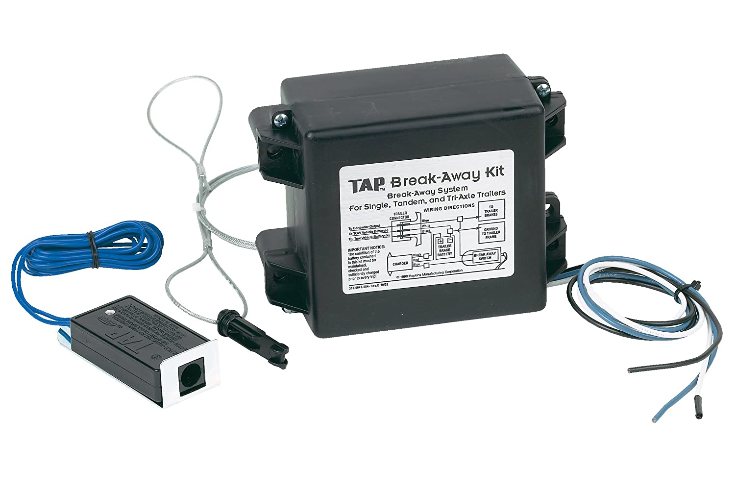 Hopkins 20019 Trailer Break Away Kit With Battery Wiring Electric Brakes Charger And 44 Switch Automotive