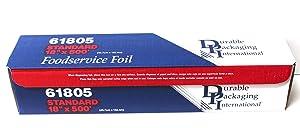 Durable Standard Aluminum Foil Roll, 18 Width x 500' Length