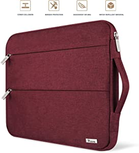 Voova 15.6 14 15 Inch Laptop Sleeve Case with Handle, Waterproof Computer Protective Cover Carrying Bag Compatible with MacBook Pro 15.4 16, 15 Surface Book 2, Asus Acer Hp Chromebook with Pocket, Red