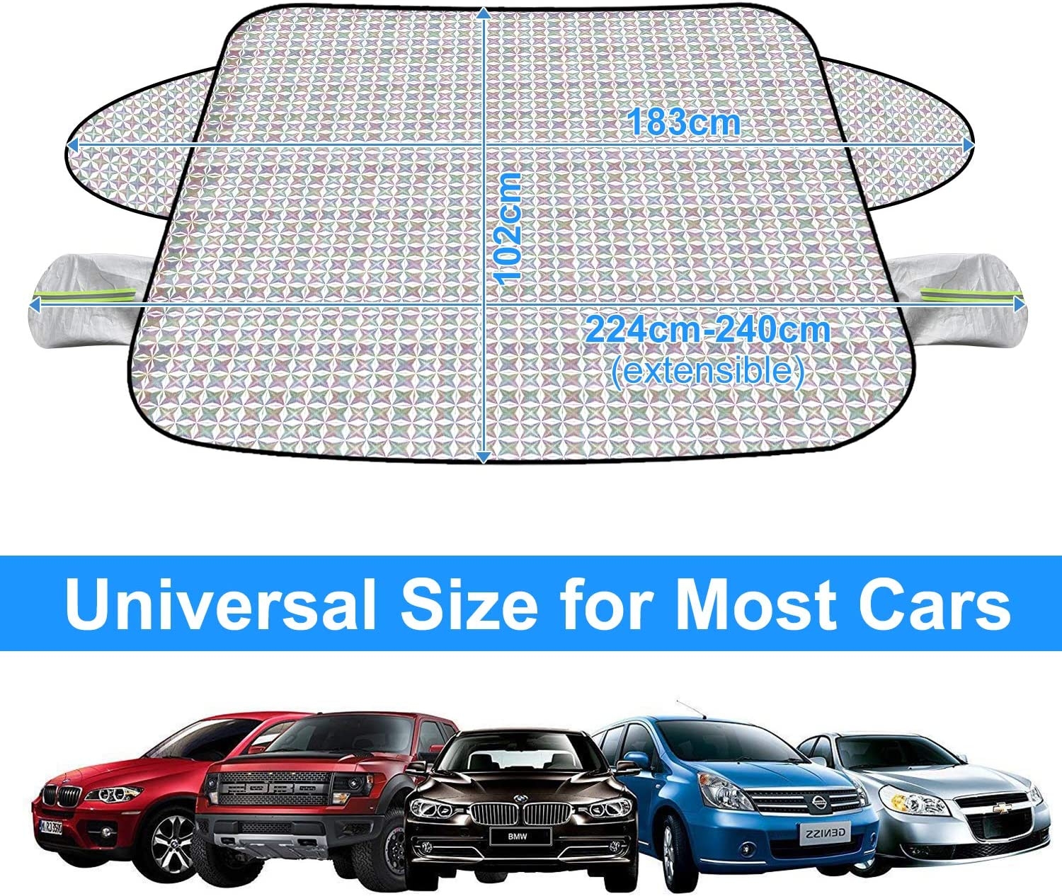 Cotton Thicker Windscreen Snow Cover with Rearview Mirror Protector Fits Most Cars KKTICK Car Windshield Snow Cover, Upgraded Version Waterproof Windshield Winter Cover for Snow Ice Frost
