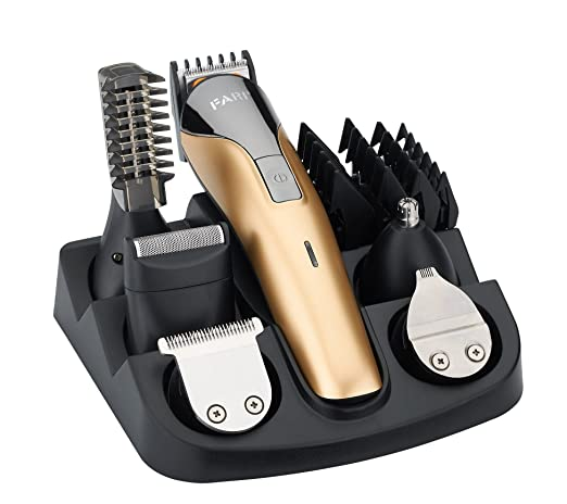 FARI All In One Multifunctional Rechargeable Electric Hair Trimmer Grooming Kit Nose Ear Beard Clipper and Mustache Trimmers Shaver Suit Hair Cutter for Barbers Salon with Fast...