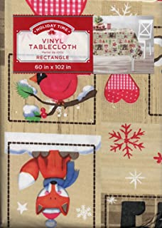 Holiday Patchwork Vinyl Tablecloth (60 X 102 Inch)