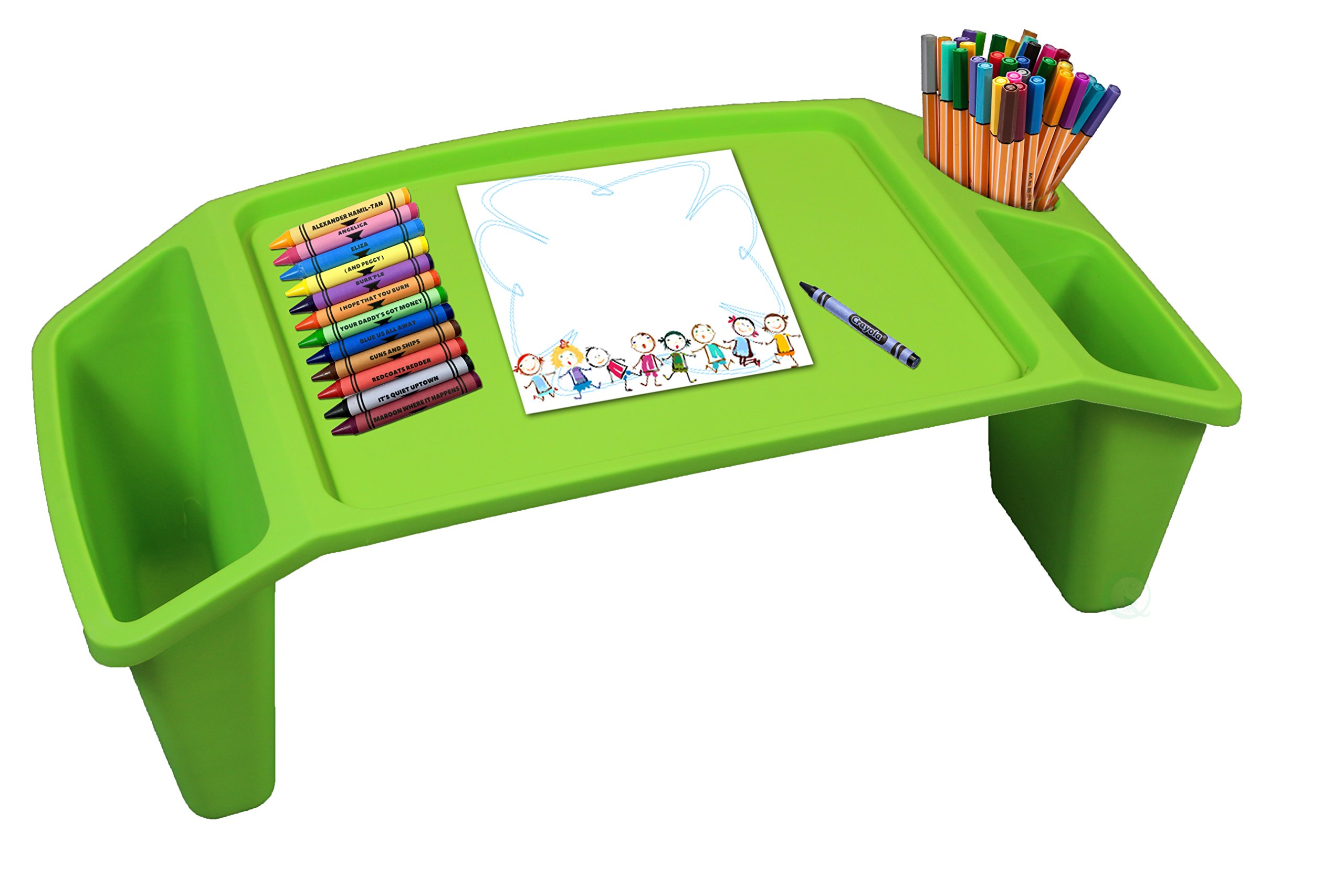 Baiscwise Kids Lap Desk Tray, Portable Activity Table (Set of 12, Green)