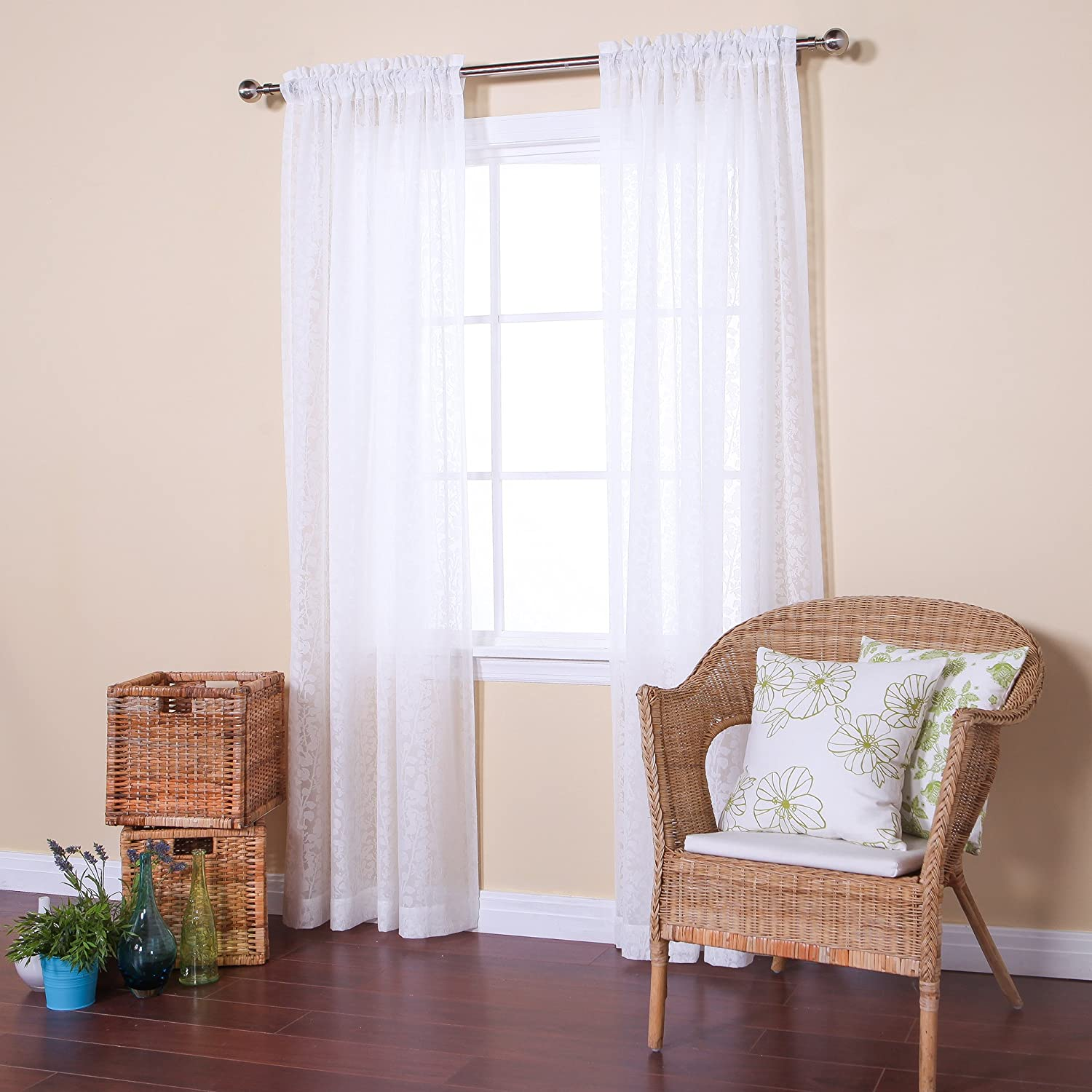 White ruffle curtain - Amazon Com Best Home Fashion Sheer Branch Pattern Curtains Rod Pocket White 54 W X 84 L Set Of 2 Panels Home Kitchen