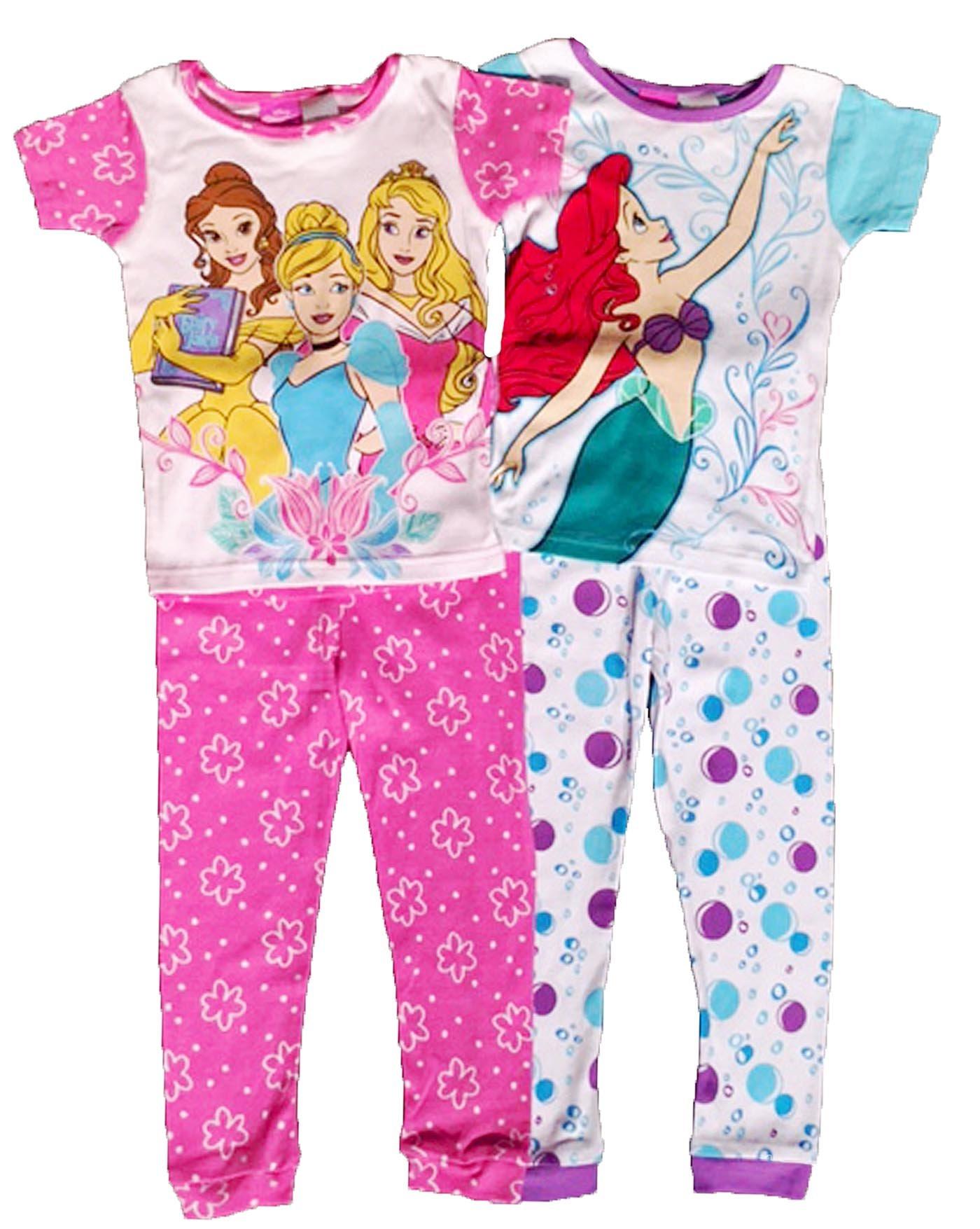 Disney Princess Little Girls Toddler 4 Pc Cotton Pajama Set (2T)