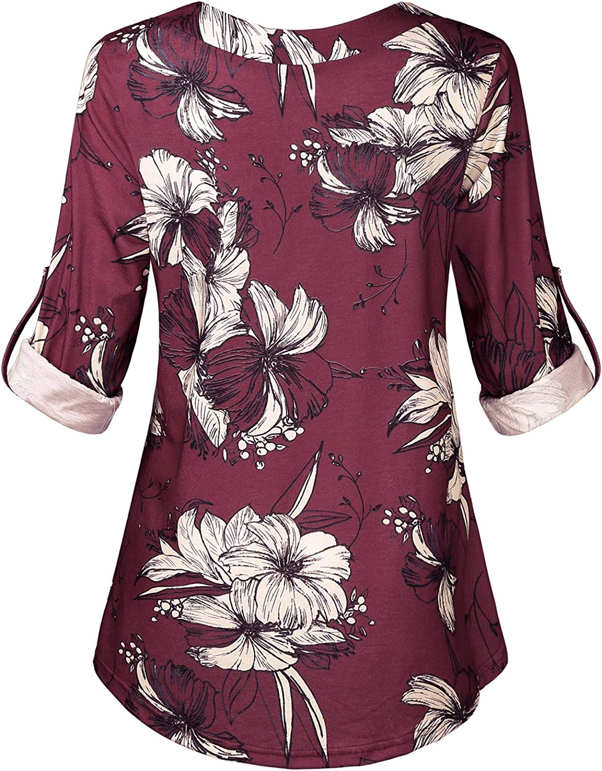 Hibelle Womens Roll-up Long Sleeve V-Neck Casual Flowy Tunic Blouse