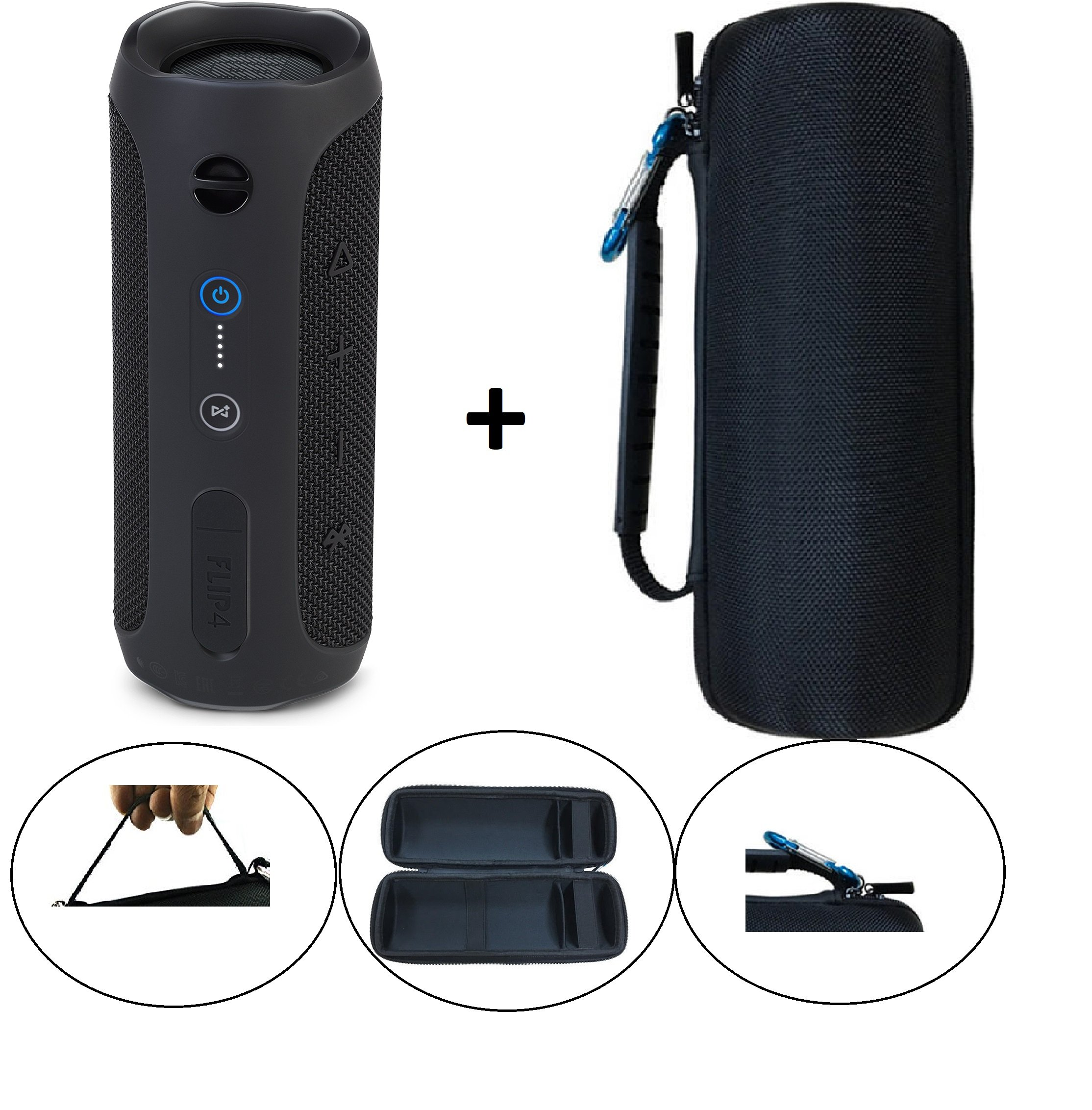 JBL Flip 4 Splash proof Portable Bluetooth speaker, Black PLUS Protective Hard Cover Portable Case, Black