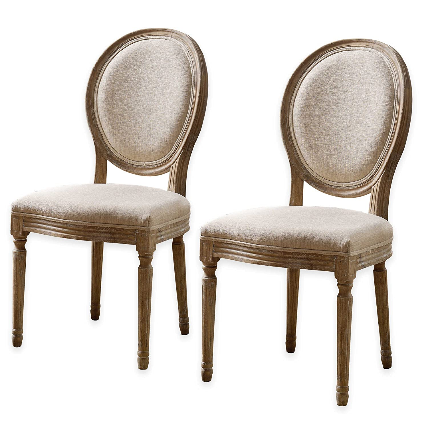 Amazon Shiraz Linen Oval Back Chairs in Natural Set of 2