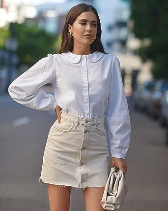 The Drop Camisa con Botones Y Cuello Babero, por @Paolaalberdi Blouses Mujer