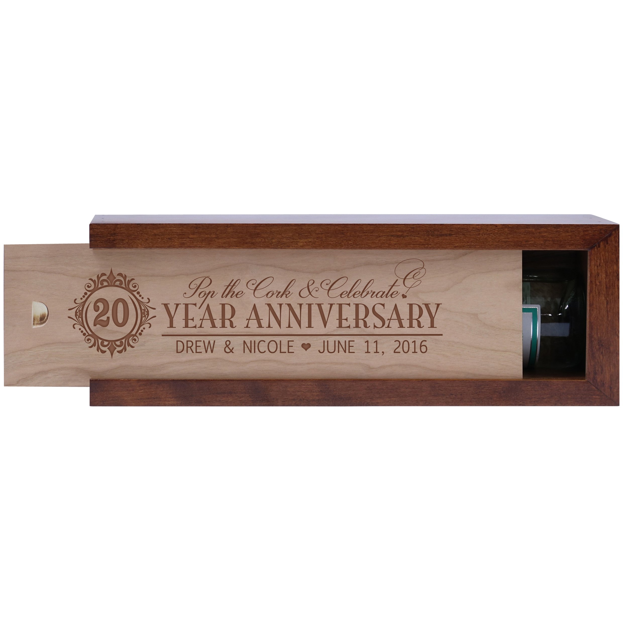 Personalized 20th year anniversary gift wood wine box Custom engraved gift for husband wife boyfriend or girlfriend Exclusively by American Wine Krafts (Dark Cherry Box with Unfinished Cherry Lid)