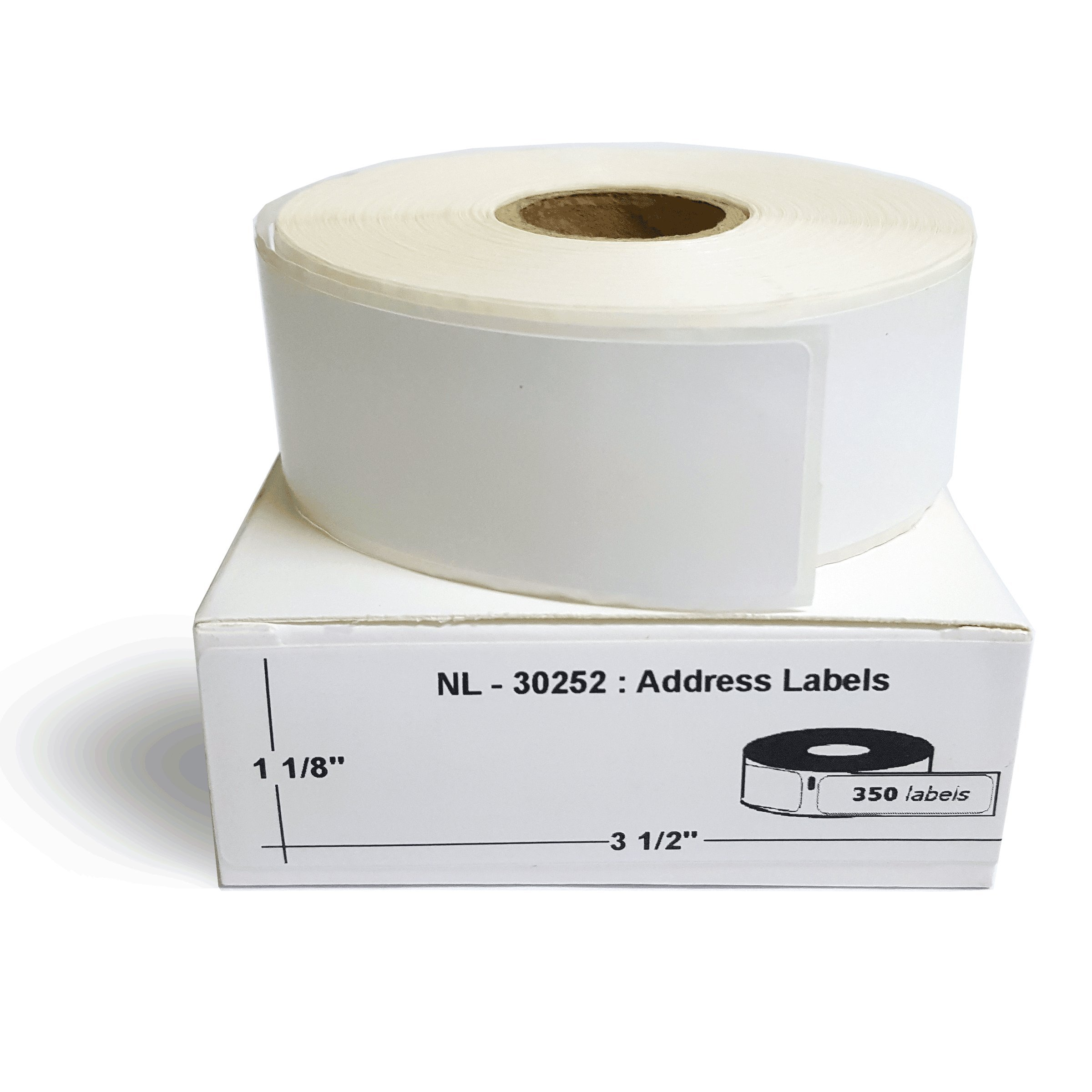 Dymo Printer Compatible Label 30252 (Size 1-1/8'' x 3-1/2'' - 24 Rolls : 350 Labels Each Roll) (24 Rolls)