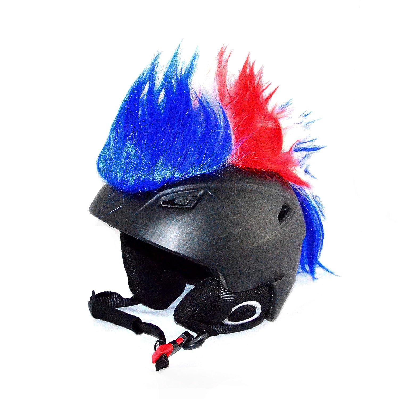 Helm-Irokese für den Skihelm, Snowboardhelm, Kinderskihelm, Kinderhelm, Motorradhelm, Fahrradhelm - Punk Fan Irokese für Kinder und Erwachsene Helmcover HELMDEKO (Frankreich) blau rot weiß