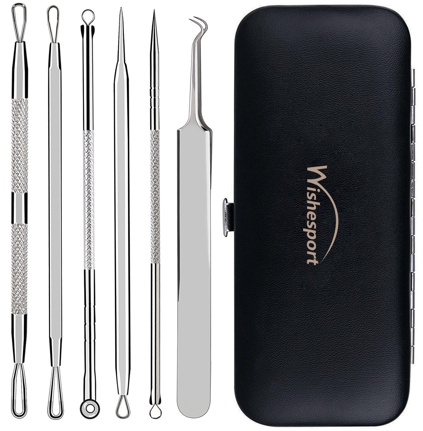 Wishesport Blackhead Remover,Pimple Comedone Extractor, Blackhead Removal tool, Blemish Acne Zit Remover Tweezer Kit,6 Piece Silver