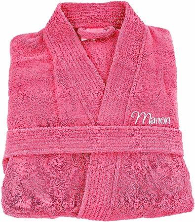 Brodeway, albornoz de baño para adulto hombre y mujer 100% algodón, bordado personalizable, algodón, color rosa, S: Amazon.es: Hogar