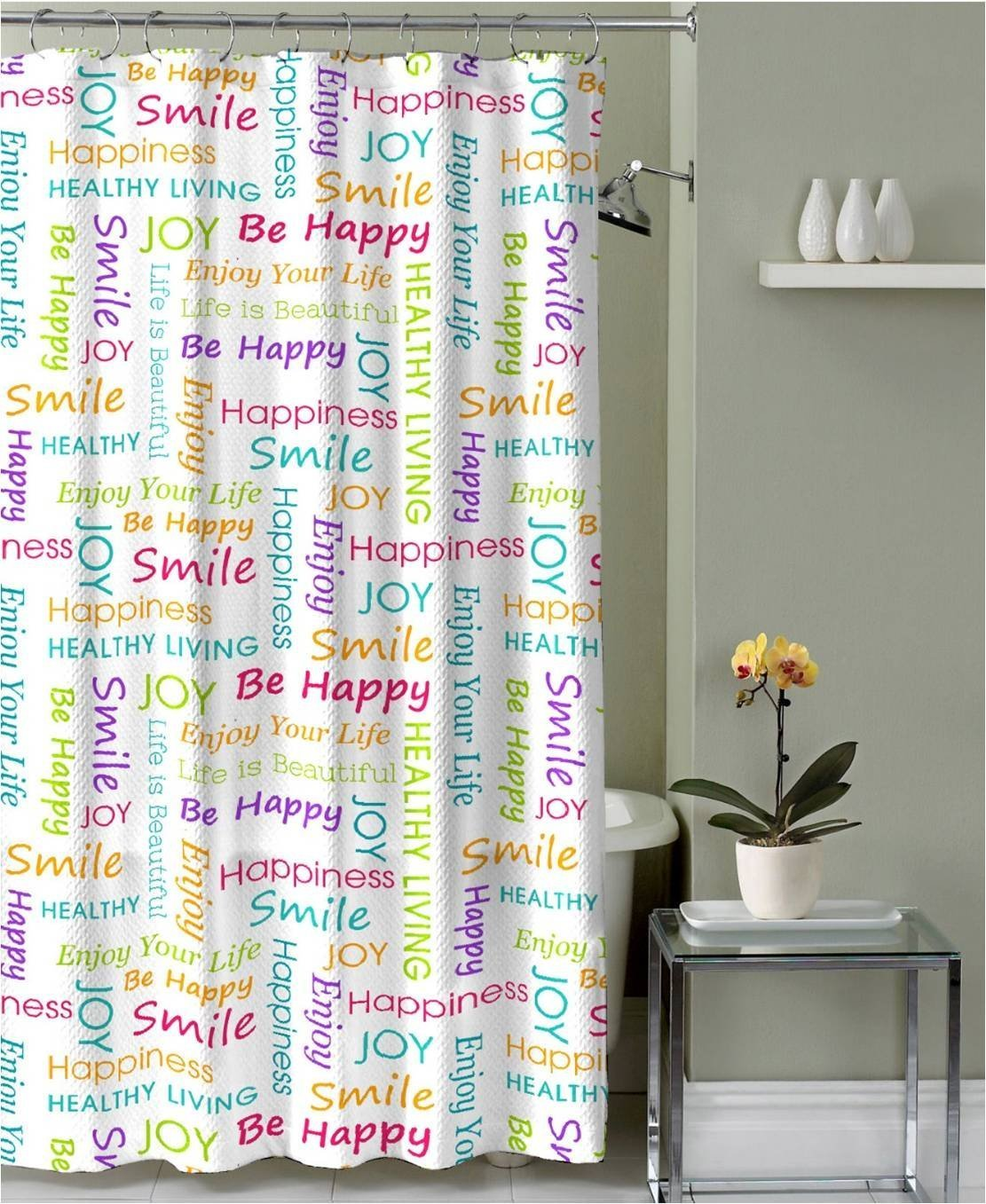 Amazon Healthy Happy Joy Fabric Shower Curtain Colorful Inspirational Word Design Home Kitchen