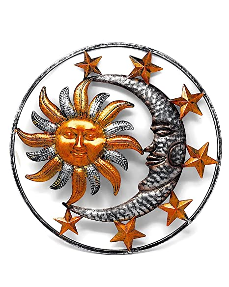 Amazon.com : Large Metal Sun Moon Star Wall Art Sculpture Decor for ...