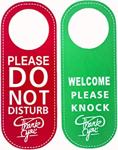 Do Not Disturb Sign Door Hanger Sign,Welcome Please Knock Sign PU Leather, for Home and Business (Red + Green) 2 Pack