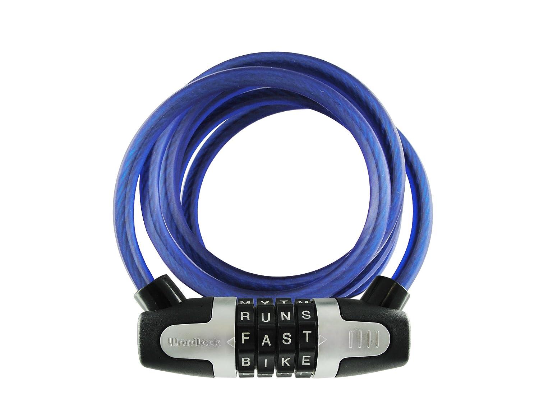 Wordlock CL-434-BL 5-Feet 4-Dial 8mm WLX Combination Bike Lock, Blue