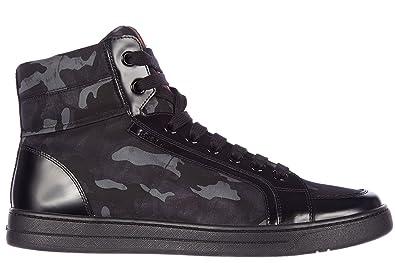 13a1e8325acd Prada Herrenschuhe Herren Leder Schuhe High Sneakers Camouflage Schwarz EU  44 4T2723 3OCP F0008