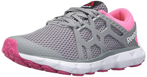 Reebok Womens Hexaffect Run 4.0 MU MTM Walking Shoe, Flat Grey/Poison Pink/
