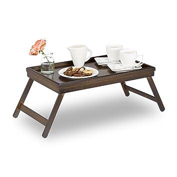 Relaxdays – Bandeja para la cama (bambú, patas plegables, borde elevado, Desayuno
