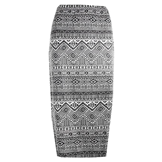 Funky Fashion New Ladies Printed Knee length Pencil Skirt Midi Skirt Size  8-14: Amazon.co.uk: Clothing