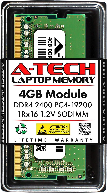 A-Tech 4GB DDR4 2400MHz SODIMM PC4-19200 1Rx16 Single Rank 260-Pin CL17 1.2V Non-ECC Unbuffered Notebook Laptop RAM Memory Upgrade Module
