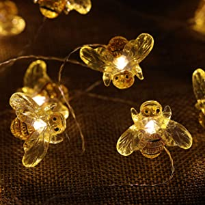 WSgift Solar Honeybee String Lights, 15.8 Ft 30 Warm White LED Outdoor Waterproof Bee Fairy String Lights for Garden Yard Outdoor Decorations