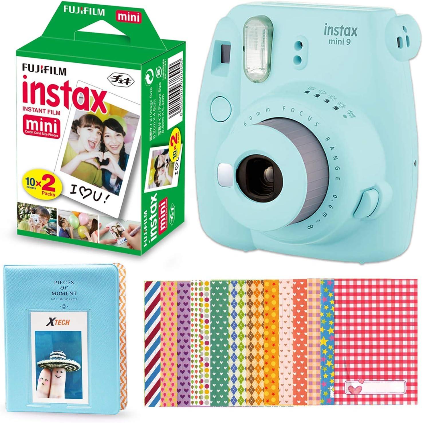 Fujifilm Instax Mini 9 Cámara instantánea (azul hielo) + Fuji Instax Mini Instant Film Twin Pack (20 Exposuras), Álbum de fotos azul, 60 marcos de pegatinas de colores surtidos + más: Amazon.es: Electrónica